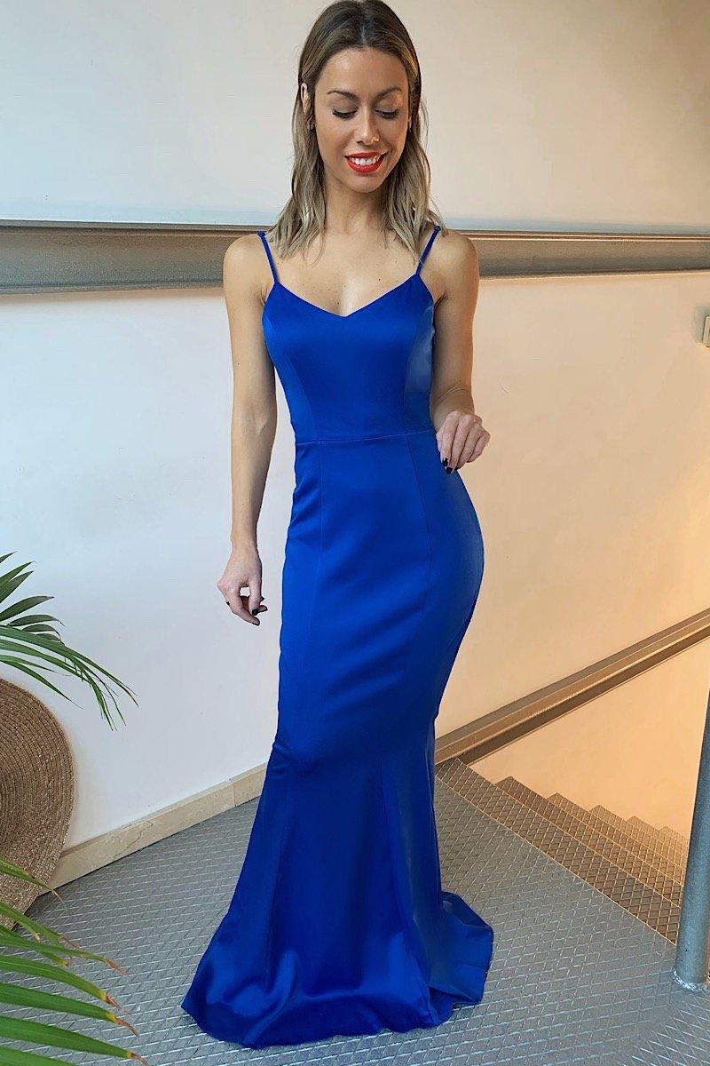 Vestido azul escote espalda