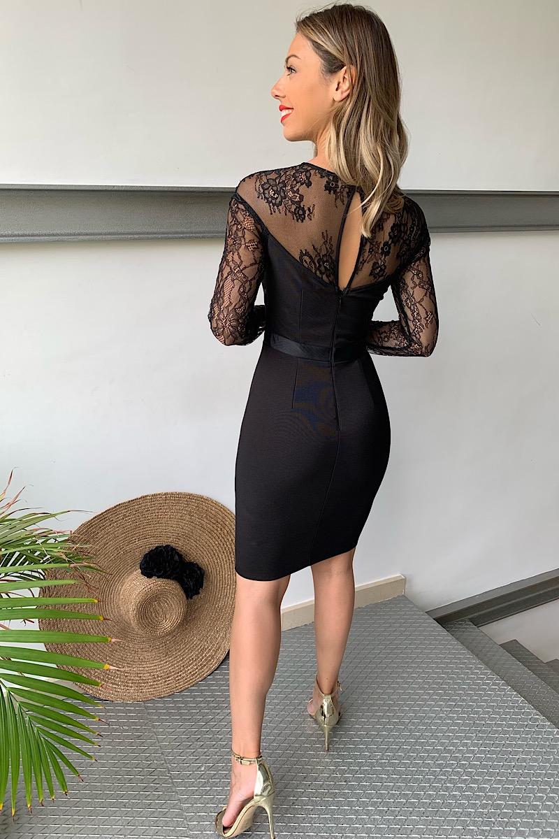 Vestido Negro Mangas Encaje